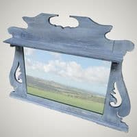 Refurbished Antique Oak Wall Mirror / Blue Paint Washed